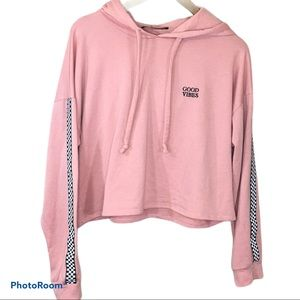Rags To Riches Pink Cropped Hoodie Large